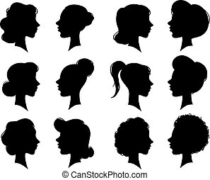 Adult and young womans vintage side faces silhouette. Woman face profile or female head silhouettes. Women heads profiles vector set