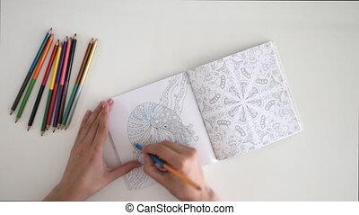 Adult anti stress coloring book, girl coloring drawing