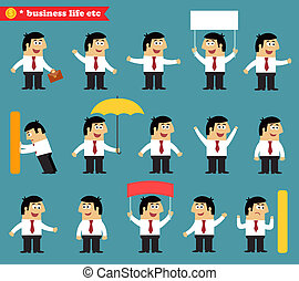 Adult at work emotional poses and situations set - Business...