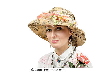 Middle aged woman wearing tapestry hat on white background