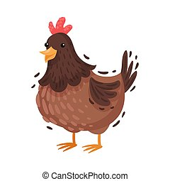 Adult chicken. Vector illustration on a white background.