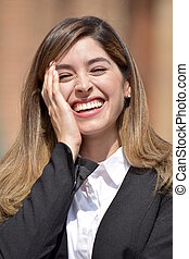 Adult Colombian Business Woman Laughing