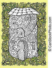 Adult coloring book half colored cover design and mono color black ink illustration, vector art. Fairy house with open door