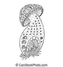 Adult coloring book page, black ink illustration
