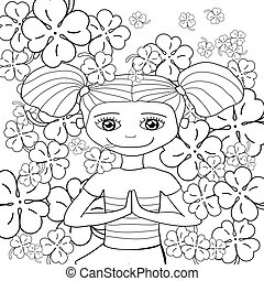 Adult coloring book page cute girl in garden. Vector illustration.