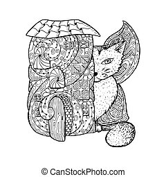 Adult Coloring Book Page Mono Color Black Ink Illustration Vector Art Fairy House