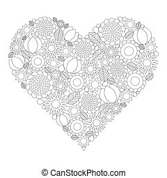 adult coloring book page - vector black and white contour...