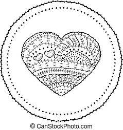 Adult Coloring Book Page Vector Heart Shaped Pattern Ethnic Design In Whimsical Style With Floral Elements