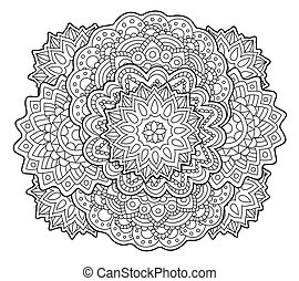 Adult coloring book page with abstract art