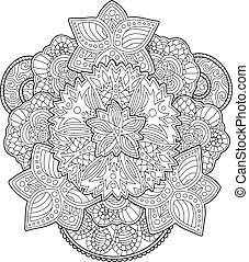 Adult coloring book page with beautiful flowers