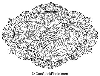 Adult coloring book page with beautiful pattern
