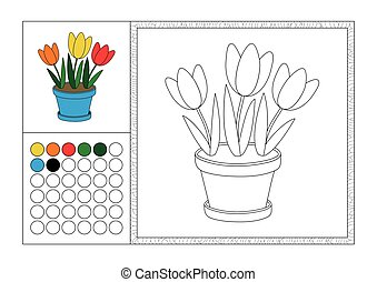 Adult Coloring Book Page With Colored Template Decorative Frame And Color Swatch