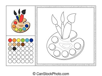 adult coloring book page with colored template, decorative frame and color swatch - vector black and white contour picture - woody artistic palette with three brushes