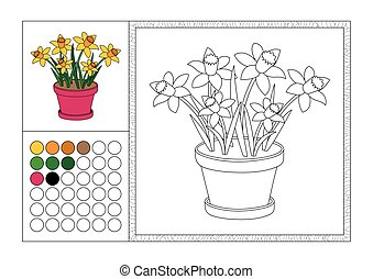 adult coloring book page with colored template, decorative ...