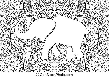 Adult coloring book page with elephants silhouette