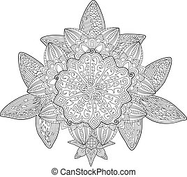 Adult coloring book page with floral pattern
