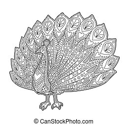 Adult coloring book page with funny peacock
