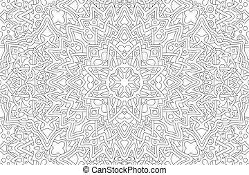 Adult coloring book page with linear pattern - Beautiful ...