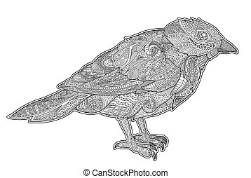 Adult coloring book page with little tit