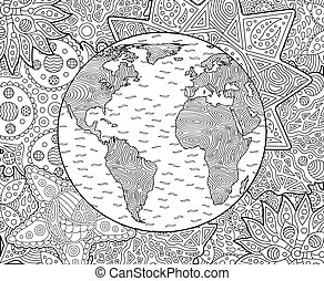Adult coloring book page with planet earth
