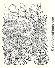 Adult coloring book page with Pregnant lady.Pregnancy in...