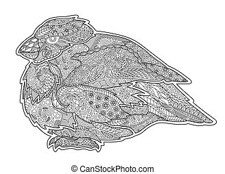 Adult coloring book page with serious little bird