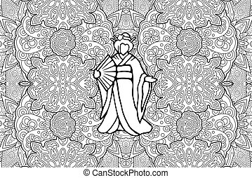 Indian Woman in Sari coloring page | Free Printable Coloring Pages | 194x269