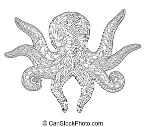 Adult coloring book page with stylized octopus