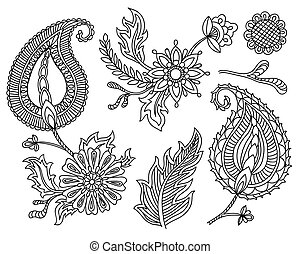 Vector set of colorful paisley elements. Indian, Persian traditional motives on white background. For your design.
