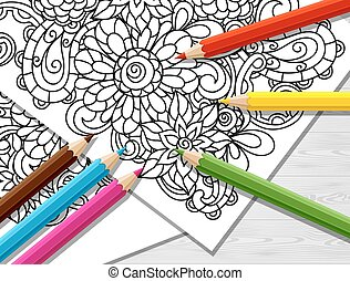 Adult coloring concept with pencils, printed pattern. Illustration of trend item to relieve stress and creativity