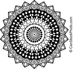 Adult coloring page - Mandala element in zenart style. Hand...