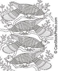 adult coloring page with doves