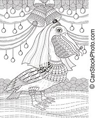 adult coloring page with pelican