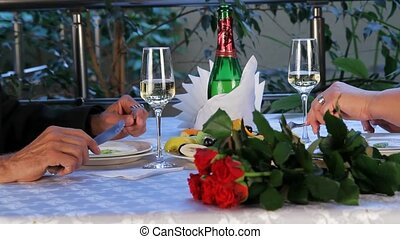 Adult Couple At A Gala Dinner. - DOLLY. The aged couple...