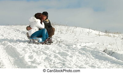 adult couple enjoying a winter