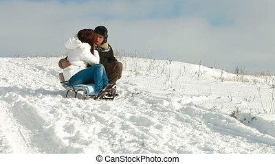 adult couple enjoying a winter