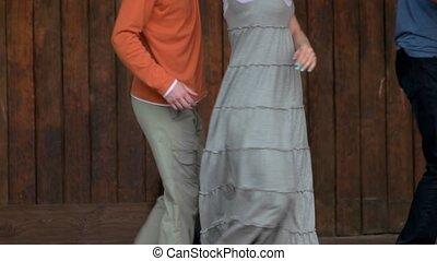 Adult dancing couple.