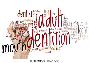 Adult dentition word cloud concept