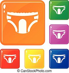 Adult diapers icons set vector color