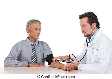 Adult doctor checking pressure of old patient. Looking serious, sitting isolated on white