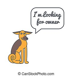Adult dog with speech bubble and saying