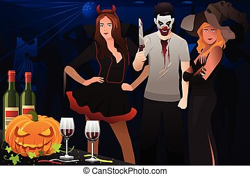 Adult Dressing Up in Halloween costume - A vector...