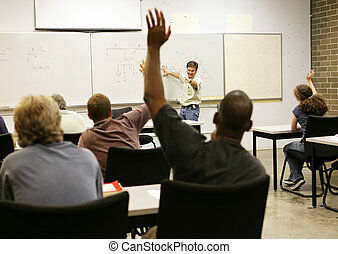 Adult Ed - Whole Class - Adult education teacher in front of...