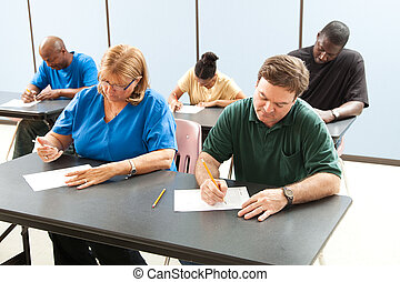 Adult Education - Taking Test - Classrom of adult education...
