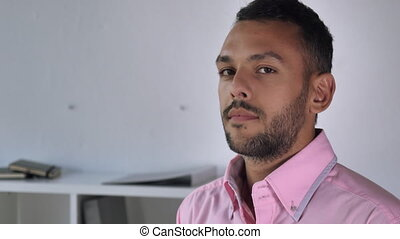 Adult employer closeup. - Mixed race handsome man portrait....