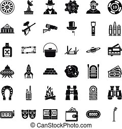 Adult games icons set, simple style