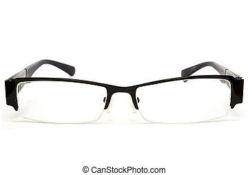 adult glasses on white background