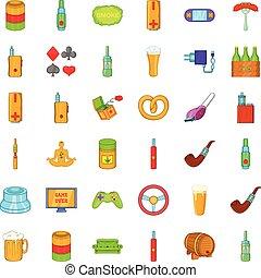 Adult habit icons set, cartoon style