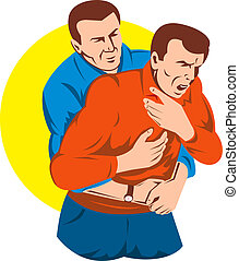 Illustration of an adult Heimlich maneuver with a yellow circle in the background isolated on white