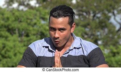 Adult Hispanic Man And Karate